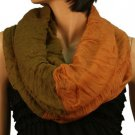 2ply 2 Tone Color Loop Tube Sheer  Summer Spring Scarf Neckwrap Olive Copper