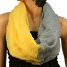 2ply 2 Tone Color Loop Tube Sheer Light Summer Spring Scarf Neckwrap Gray Yellow