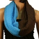 2ply 2 Tone Color Loop Tube Sheer Light Summer Spring Scarf Neckwrap Brown Blue