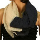 2ply 2 Tone Color Loop Tube Sheer Light Summer Spring Scarf Neckwrap Navy Nude