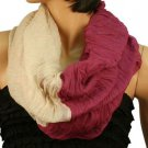 2ply 2 Tone Color Loop Tube Sheer Light Summer Spring Scarf Neckwrap Violet Nude