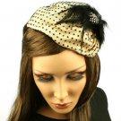 Fancy Lace Feathers Jewel Satin Headband Head Piece Fascinator Cocktail Flesh