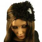 Fancy Ruffle Lace Sequins Satin Headband Head Piece Fascinator Cocktail Black
