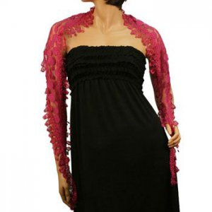 Obtuse Lace Fringe Light Sheer Long Summer Narrow Scarf Headwrap HipWrap Fuchsia