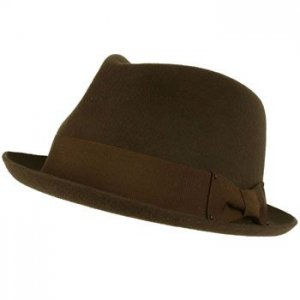 Unisex Winter Classic 100% Wool Felt Upturn Snap Curl Brim Ribbon Hat Brown L/XL
