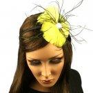 Fancy Feather Rhinestone Thin Headband Head Piece Fascinator Cocktail Yellow