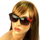 Wayfarer Ribbon Bow Kitty Animal Print Smoke Lens Sunglasses Glasses Black Red