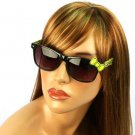 Wayfarer Ribbon Bow Kitty Animal Print Smoke Lens Sunglasses Glasses Blk Yellow
