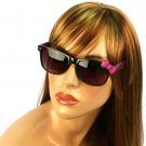Wayfarer Ribbon Bow Kitty Animal Print Smoke Lens Sunglasses Glasses Blk Magenta