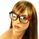 Wayfarer Ribbon Bow Animal Print Fake Clear Lens Eyeglasses Glasses Black Red