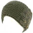 Real Long Feathers Adjustable Hand Knit Handmade Headwrap Headband Ski Gray