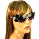 3D Ribbon Bow Smoke Lens Spring Hinges Cute Sunglasses Shades Animal Print Blk