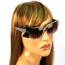 3D Ribbon Bow Smoke Lens Spring Hinges Cute Sunglasses Shades Animal Print Pink