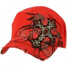 Austrian Crystal Cross Frayed Cool Elastic Black GI Cadet Cap Hat 57cm+ Red