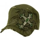 Austrian Crystal Cross Frayed Cool Elastic Black GI Cadet Cap Hat 57cm+ Olive