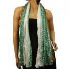 Crinkle Polka Dot Tricolor Light Sheer Long Big Summer Wrap Scarf Shawl Green