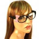 3D Ribbon Bow Fake Clear Lens Spring Hinges Cute Eyeglasses Glasses Black Pink