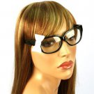 3D Ribbon Bow Fake Clear Lens Spring Hinges Cute Eyeglasses Glasses Black White