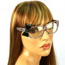 3D Ribbon Bow Fake Clear Lens Spring Hinges Eyeglasses Glasses Pink Animal Print
