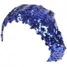 Sequins Tam Stretch Sparkle Shimmer Fun Shiny Beret Beanie Dance Cap Hat Blue