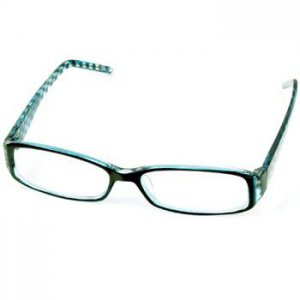 2 Tone Checkerboard Floral Clear Lens Reading Glasses Eyeglasses Blue + 1.75
