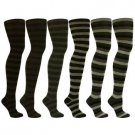 6 Pairs Striped Sexy Thigh High Girl School Stocking Dancer Socks Cotton Set