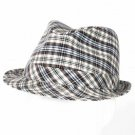 Men's Summer Spring Light 100% Cotton Scottish Plaid Fedora Trilby Hat Cream M/L