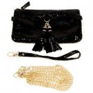 Genuine Leather Body Shoulder Bag Baguette Wristlet Removable Strap Clutch Black