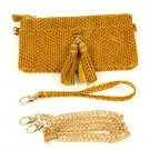 Genuine Leather Body Shoulder Bag Baguette Wristlet Remove Strap Clutch Mustard
