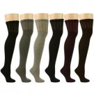 12 Pairs Solids Ribbed Sexy Thigh High Girls School Over Knee Dancer Socks Set