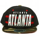 Cotton Atlanta Camouflage Snapback Adjustable Baseball Ball Cap Hat Navy Red