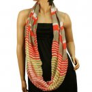Loop Infinity Eternity Circle Light Sheer Stripe Long Summer Scarf Neck wrap Red