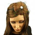 Fancy Feather Rhinestone Thin Headband Head Piece Fascinator Cocktail Brown