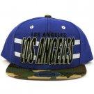 Cotton Los Angeles Camouflage Snapback Adjustable Baseball Ball Cap Hat Blue
