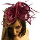 Fancy Floral Feathers Hat Big Fascinator Headband Head Piece Cocktail Purple