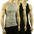 Men's 3pk 100% Cotton Tank Top Under Shirt Crew Neck Black & Gray 42-44 Chest L