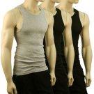 Men's 3pk 100% Cotton Tank Top Under Shirt Crew Neck Black & Gray 42-44 Chest L