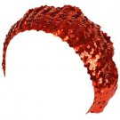 Sequins Red Society Tam Stretch Sparkle Shimmer Fun Shiny Beret Beanie Hat Red