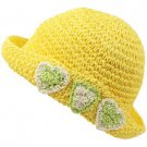 Girls Child Kids Ages 4-7 Child Summer Sun Bucket Crusher Hat Cap Yellow 53cm