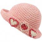 Girls Child Kids Ages 4-7 Child Summer Sun Bucket Crusher Hat Cap Pink 53cm