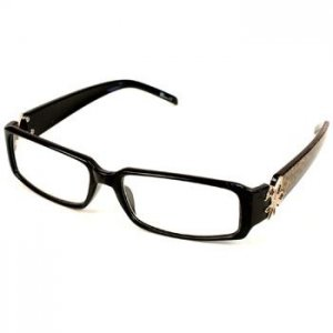 Solid Animal Print Fleur De Lis Clear Lens Reading Glasses Eyeglasses Bk + 3.00
