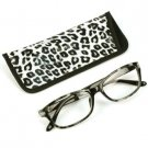 Animal Print Clear Lens Reading Glasses Eyeglasses Pouch Case Black Gray + 1.75