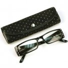 2 Tone Crystal Pivot Clear Lens Reading Glasses Eyeglasses Pouch Black + 1.25