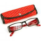 2 Tone Crystal Pivot Clear Lens Reading Glasses Eyeglasses Pouch Bk Red + 1.00