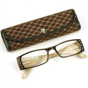 2 Tone Crystal Pivot Clear Lens Reading Glasses Eyeglasses Pouch Br Tan + 1.75