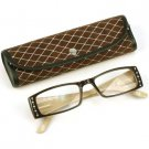 2 Tone Crystal Pivot Clear Lens Reading Glasses Eyeglasses Pouch Br Tan + 3.00