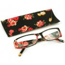 Fun Floral Frame Clear Lens Reading Eye Glasses Eyeglasses Pouch Black + 3.00