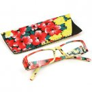 Fun Floral Frame Clear Lens Reading Eye Glasses Eyeglasses Pouch Red + 1.00