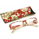 Fun Floral Frame Clear Lens Reading Eye Glasses Eyeglasses Pouch Wine + 1.25