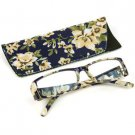 Fun Floral Frame Clear Lens Reading Eye Glasses Eyeglasses Pouch Blue + 2.75
